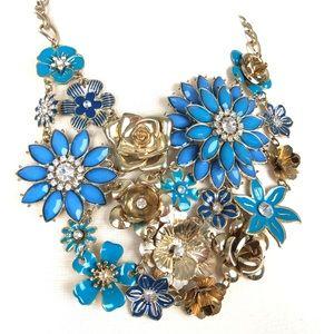 Fashion | Blue Floral Large Statement Necklace